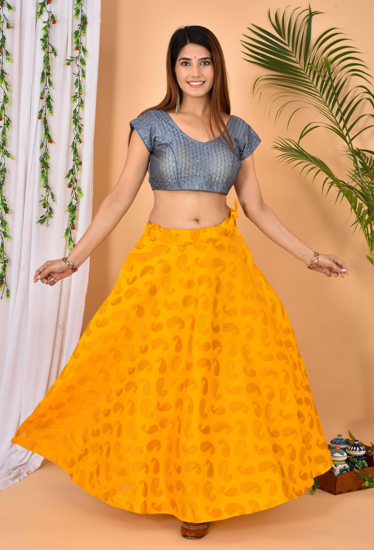 Yellow Golden Brocade Silk Wedding Lehenga-36967