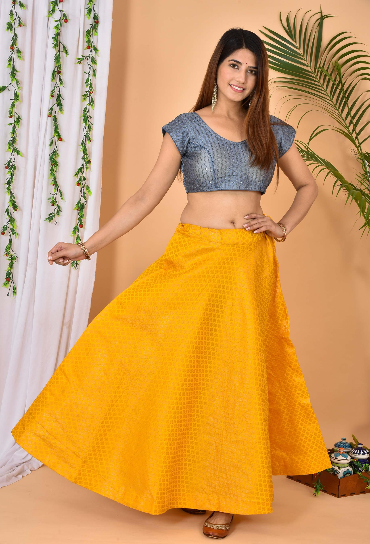 Yellow Golden Brocade Silk Wedding Lehenga-36968