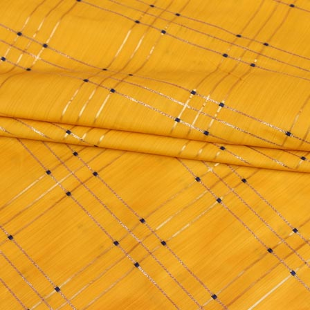 Yellow Golden Checks Brocade Silk Fabric-9239