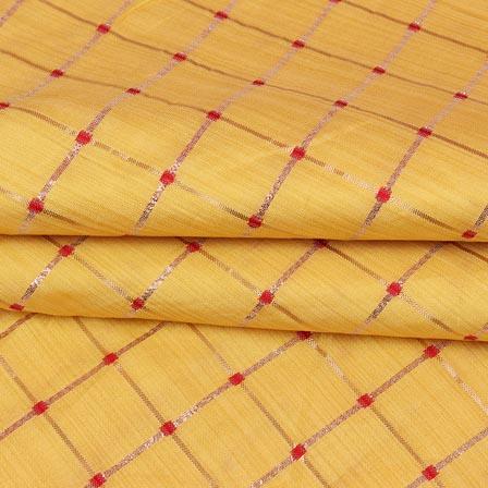 Yellow Golden Checks Zari Brocade Silk Fabric-9286