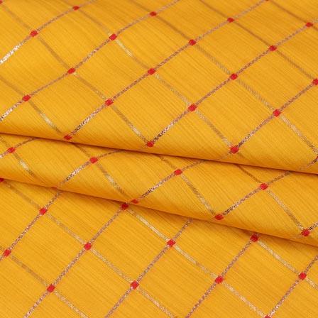 Yellow Golden Checks Zari Brocade Silk Fabric-9289