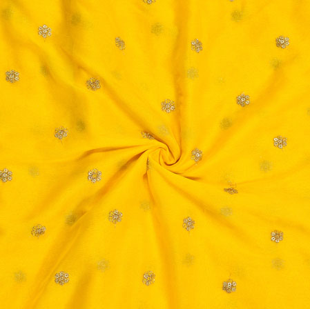 Yellow Golden Embroidery Silk Chiffon Fabric-18671