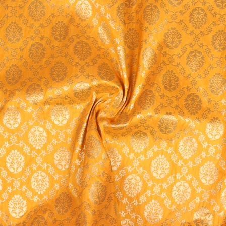 Yellow Golden Floral Digital Banarasi Silk Fabric-9200