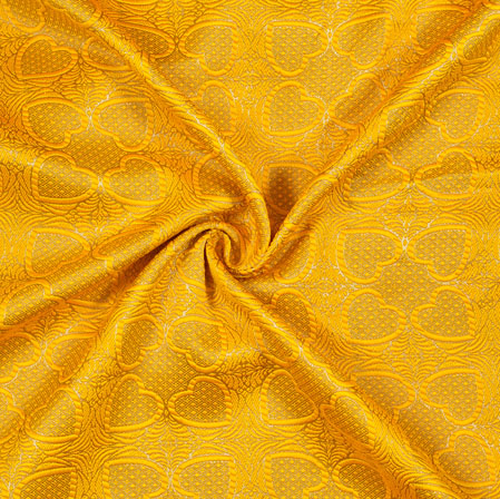 Yellow Golden Floral Emboss Brocade Fabric-12937