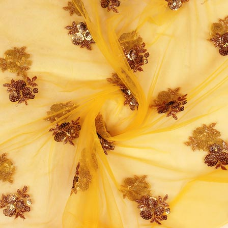 Yellow Golden Floral Embroidery Net Fabric-60979