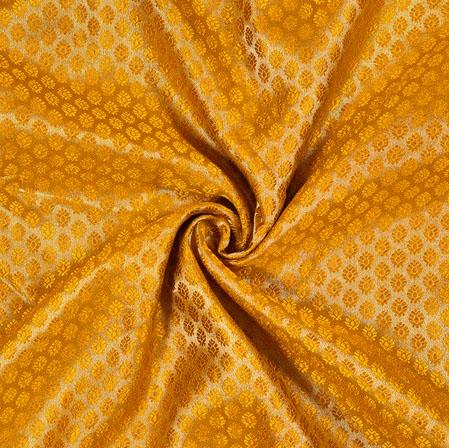 Yellow Golden Flower Brocade Silk Fabric-12907