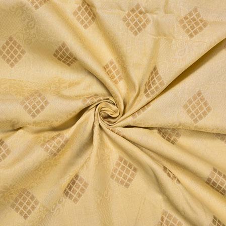 Yellow Golden Flower Cotton Jari Jacquard Fabric-28378