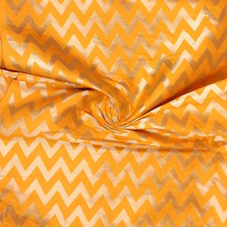 Yellow Golden Ikat Banarasi Silk Fabric-9391