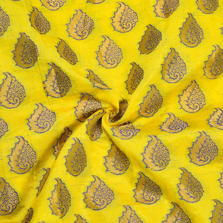Yellow Golden Paisley Chanderi Zari Silk Fabric-12094