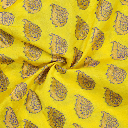 Yellow Golden Paisley Chanderi Zari Silk Fabric-12105