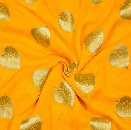 Yellow Golden Pan Georgette Viscose Boota Fabric-41139