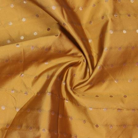 Yellow Golden Polka Brocade Silk Fabric-9361