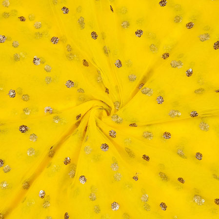 Yellow Golden Polka Net Fabric-18910