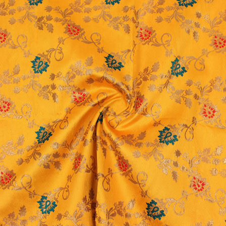 Yellow Golden Red and Cyan Floral Brocade Silk Fabric-9106