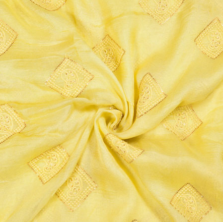 Yellow Golden Square Georgette Embroidery Fabric-19118