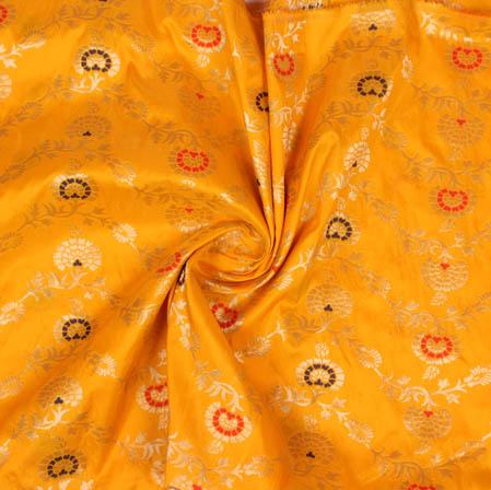 Yellow Golden and Blue Floral Banarasi Silk Fabric-9395