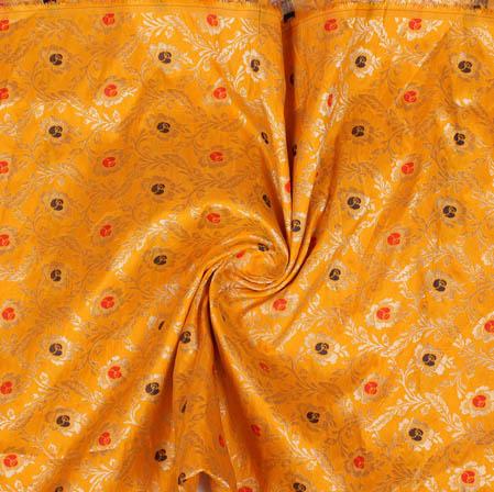 Yellow Golden and Blue Floral Banarasi Silk Fabric-9397