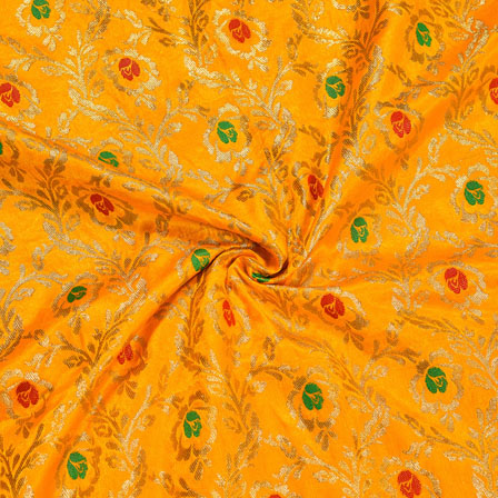Yellow Golden and Green Floral Satin Brocade Silk Fabric-12031