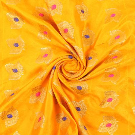 Yellow Golden and Pink Banarasi Silk Fabric-8953