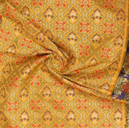 Yellow Golden and Pink Floral Banarasi Silk Fabric-9387