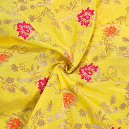 Yellow Golden and Pink Floral Digial Banarasi Silk Fabric-12017