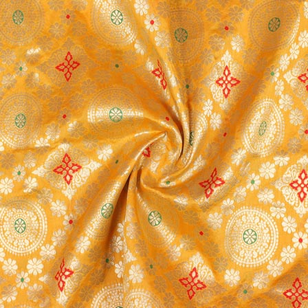 Yellow Golden and Red Floral Banarasi Silk Fabric-9272