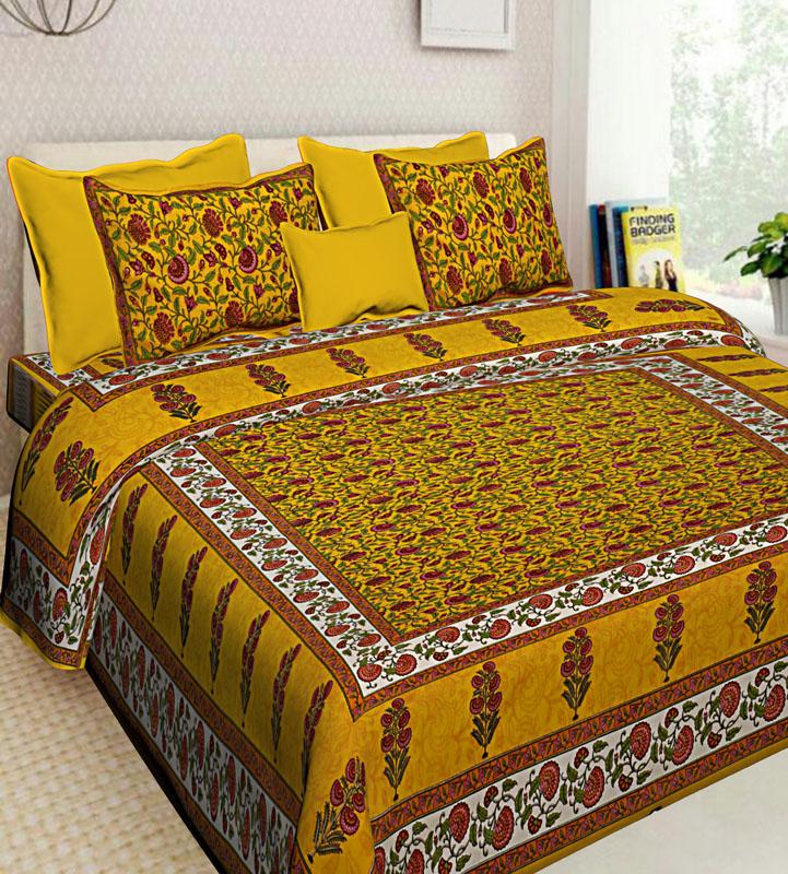 Yellow Golden yellow Cotton Jaipuri Bedsheet-594
