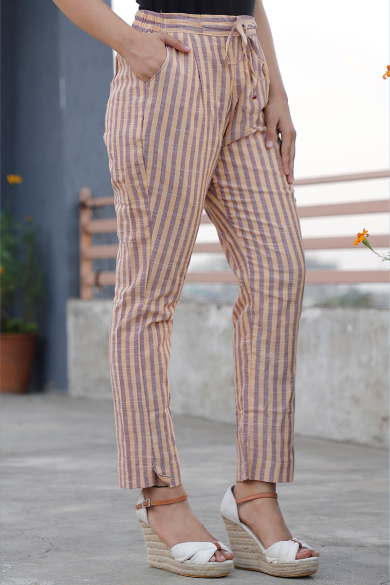 Yellow Gray Cotton Stripe Pant with Belt-34061