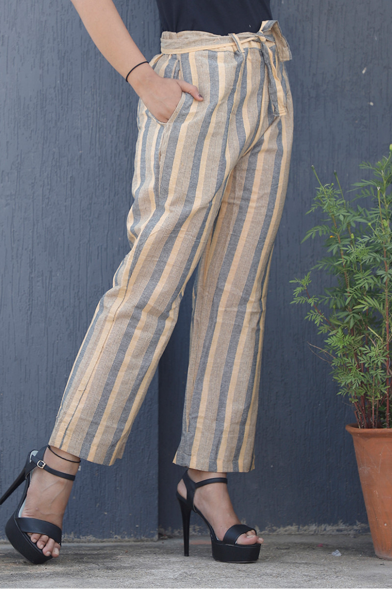 Yellow Gray Cotton Khadi Stripe Pant with Belt-34067
