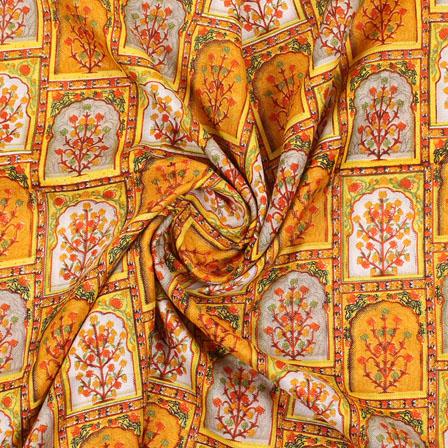 Yellow Gray Manipuri Silk Fabric-16414