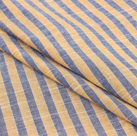 Yellow Gray Stripe Handloom Cotton Fabric-40936
