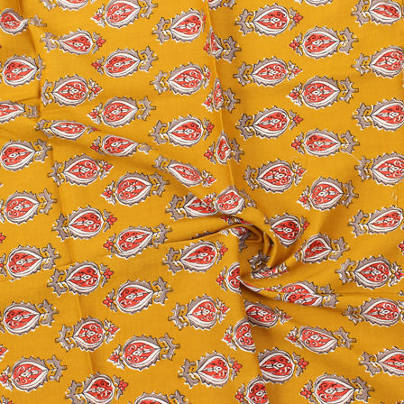 Yellow-Gray and Red Floral Pattern Block Print Rayon Fabric-15052