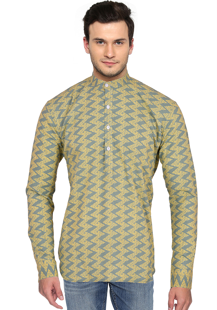 Yellow Green Block Cotton Short Kurta-33165