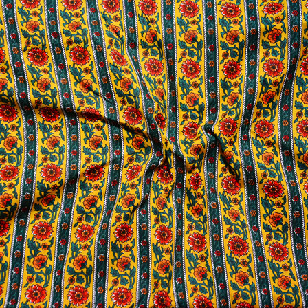 Yellow Green Block Print Cotton Fabric-14613