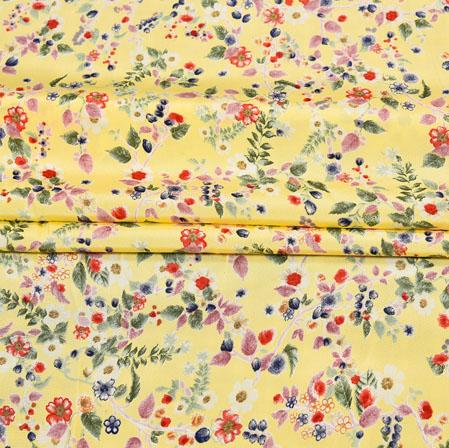 Yellow Green Digital Flower Print Georgette Fabric-41199