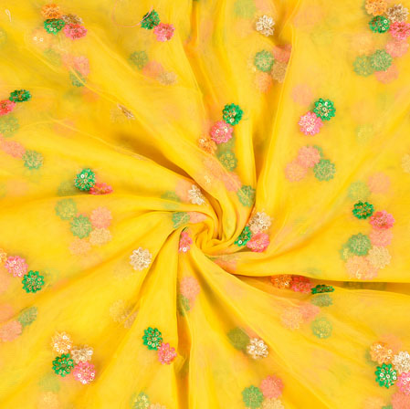 Yellow Green Floral Net Embroidery Fabric-19236