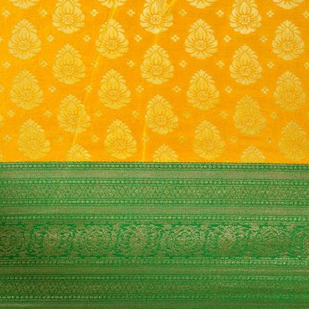 Yellow Green Floral Panel Brocade Fabric-12923