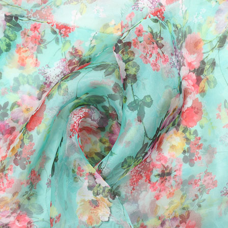 Yellow Green Flower Organza Digital Silk Fabric-51500