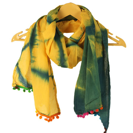 Yellow Green Shibori Cotton Block Print Dupatta With Pom Pom-33103