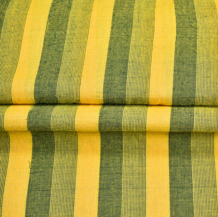 Yellow Green Stripe Handloom Cotton Fabric-40999