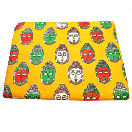 Yellow-Green and Cream Buddha Pattern Kalamkari Cotton Fabric-5786