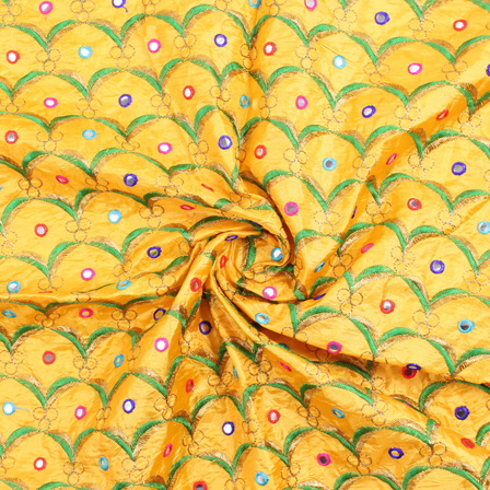 Yellow-Green and Golden Embroidery Silk Fabric-60915