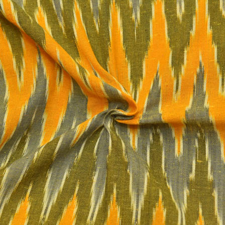 Yellow-Green and Gray Zig-Zag Pattern Ikat Fabric-12023