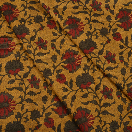 Yellow-Green and Red Floral Design Hand Block Muslin Fabric-20003