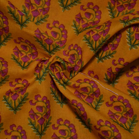 Yellow-Green and Red Flower Shape Block Cotton Fabric-14004
