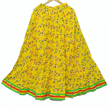 Yellow-Green and Red Leaf Design Cotton Skirt-23011