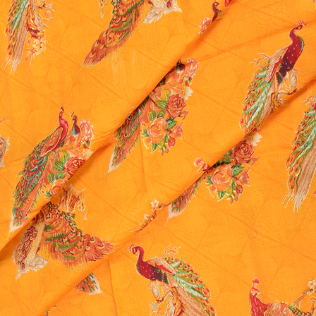 Yellow-Green and Red Peacock Design Jam Cotton Silk Fabric-75043
