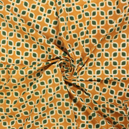 Yellow-Green and White Block Print Cotton Fabric-14567