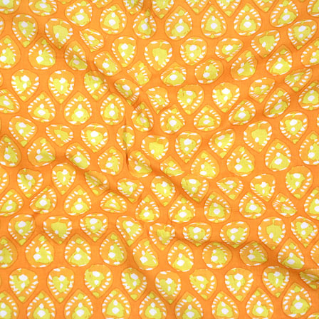 Yellow Green and White Block Print Cotton Fabric-14590