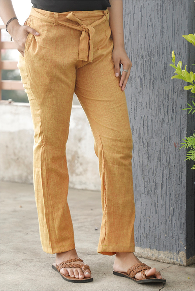 Yellow Handloom Cotton 2 Tone Narrow Pant with Belt-33911